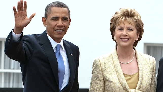 Barack Obama's first stop was a meeting with President Mary McAleese at Áras an Uachtaráin