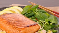 Teriyaki Salmon with Noodles and a Peanut Dressing - The fantastic thing about this recipe is that all it takes is to marinate the salmon and pop in the oven when your guests arrive. Serve with noodles in a peanut butter dressing for a tasty main course!