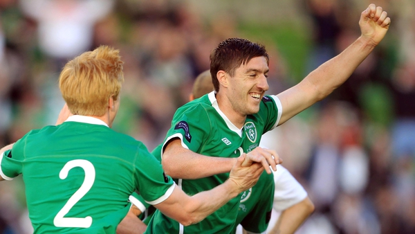 Debut delight - Stephen Ward celebrates his first goal for Ireland