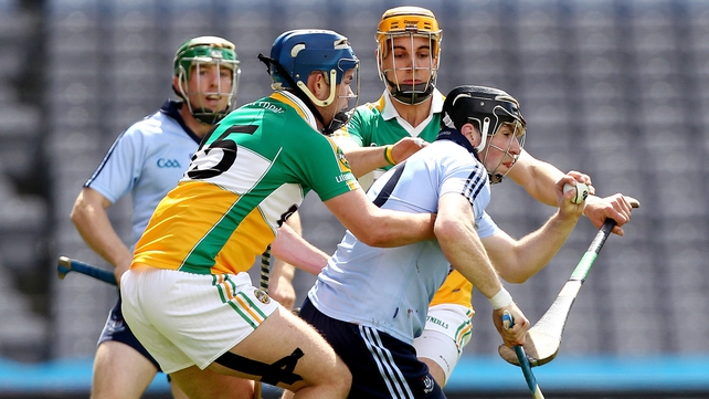 Offaly's Daniel Currams and Colin Egan can't stop Dublin's Conor McCormack