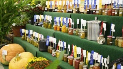 Prize-winning vegetables and preserves