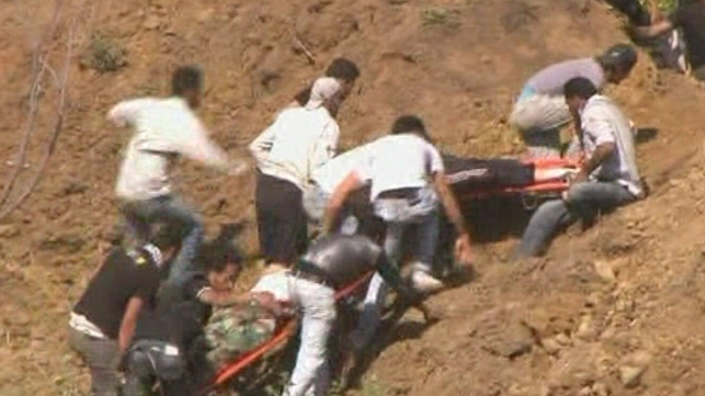 Golan Heights - Casualties carried away on stretchers