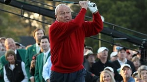 Arnold Palmer driving off the first tee at the 2011 Masters