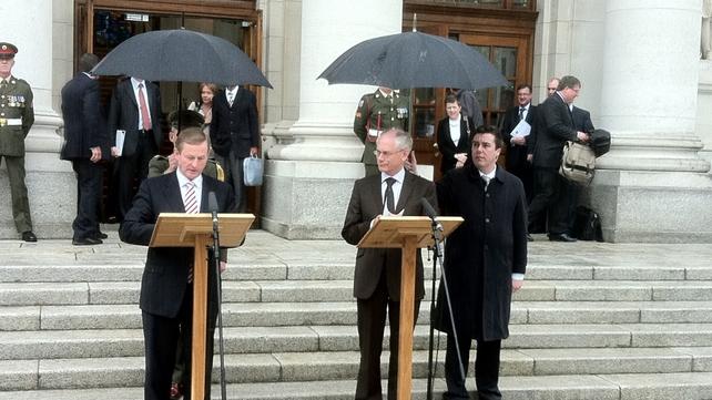 Enda Kenny and Herman Van Rompuy - Spoke outside Government Buildings