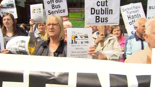 Protestors - Rally at Dublin Bus HQ
