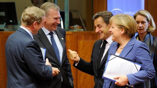 Enda Kenny spoke informally to (R-L) Angela Merkel, Nicolas Sarkozy and Belgian PM Yves Leterme