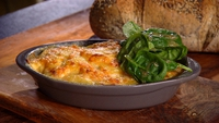 Sweet Potato and Chorizo Gratin - Serve with baby spinach salad and crusty bread.