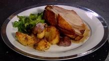 Roast Rack of Pork with Duck Fat Potatoes