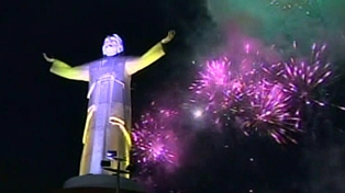 Peru - a celebration of music and fireworks marked the inauguration of the statue
