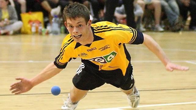 Handball Nationals - Cork's Killian Carroll dives for a ball during the Under-18 final