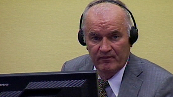 Ratko Mladic is being tried on charges of genocide, crimes against humanity & war crimes