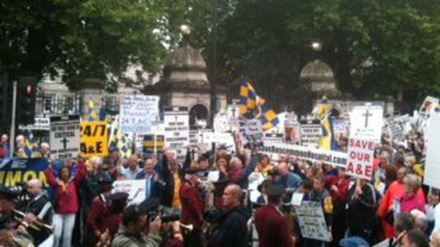 Angry protesters gathered outside the Dáil last night