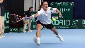 Conor Niland in Davis Cup action for Ireland