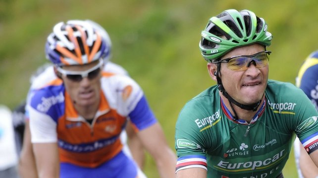 Luis Leon Sanchez won stage nine of the Tour de France, while Thomas Voeckler assumed the race leader's yellow jersey