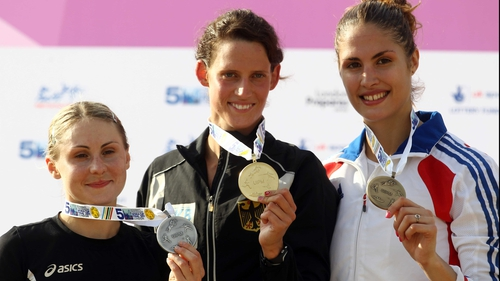 Podium finishers - Laura Asadauskaite of Lithuania, Lena Schoneborn of Germany and Elodie Clouvel of France