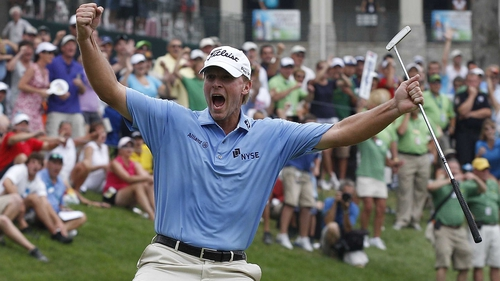 Steve Stricker - the American golfer celebrates after his 25-foot putt on the final hole gave him victory in Illinois