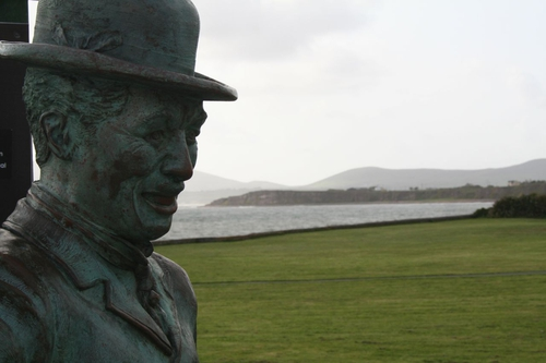 The Charlie Chaplin statue in Waterville