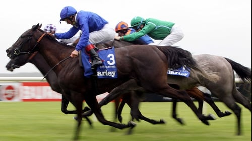 Blue Bunting - Swooped late to win the Darley Irish Oaks under Frankie Dettori