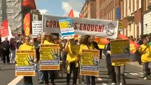 Dublin - Protesters oppose austerity measures