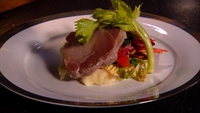 Bacon Collar with Mash & Autumn Vegetable Slaw - Treat yourself with this mouth-watering dinner