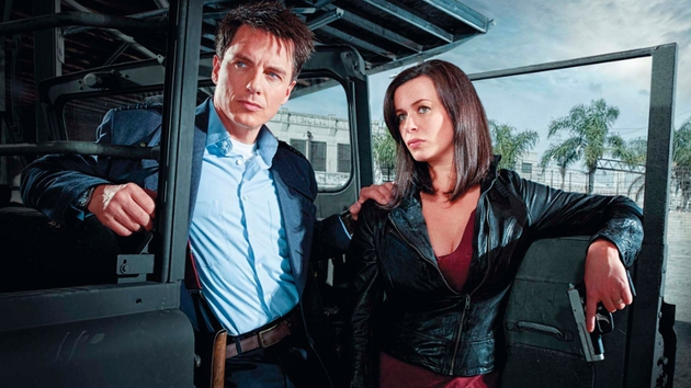 Eve Myles in Torchwood with co-star John Barrowman