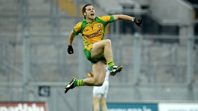 Kevin Cassidy celebrates his extra-time winning point for Donegal against Kildare