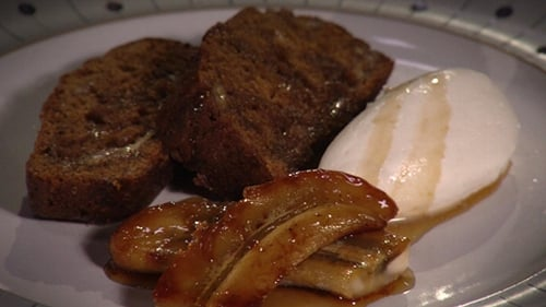 Serve with maple syrup, whipped cream and caramelised banana.