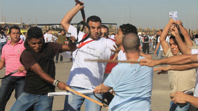 Cairo - There were clashes between pro and anti-Mubarak groups