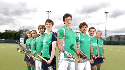 Ireland internationals Nikki Symmons, Cliodhna Sargent, Mitch Darling, Sinead McCarthy, David Fitzgerald, Ronan Gormley, Alex Speers and Chloe Watkins at the announcement of the men's and women's squads in UCD