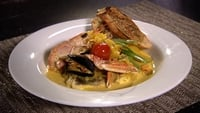 Bouillabaisse of Hake and Mussels with Saffron Cream - Serve with grilled bread with some seaweed and lime butter.