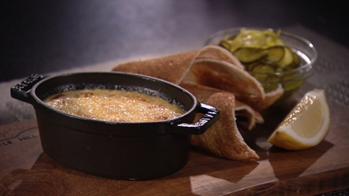 Crab Crème Brûlée: For best results, allow mixture to infuse overnight.