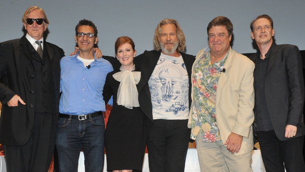 l-r: T-Bone Burnett (musical archivist), John Turturro, Julianne Moore, Jeff Bridges, John Goodman, Steve Buscemi