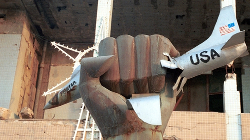 Sculpture in Gaddafi's compound of a golden fist grabbing a US jet fighter