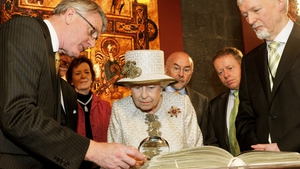 The Queen later visited Trinity College Dublin where she inspected a facsimile of the Book of Kells