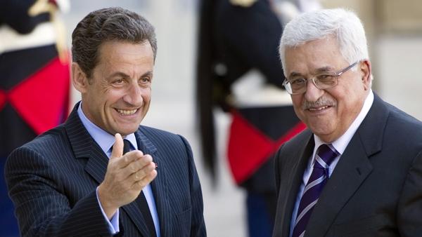 Nicolas Sarkozy meeting Palestinian leader Mahmud Abbas in April