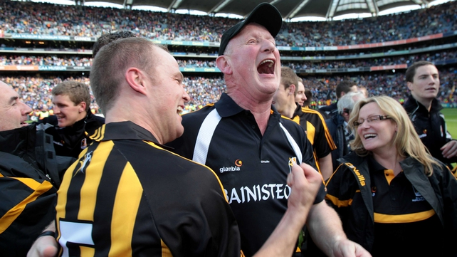 Brian Cody celebrates winning an eighth All-Ireland title