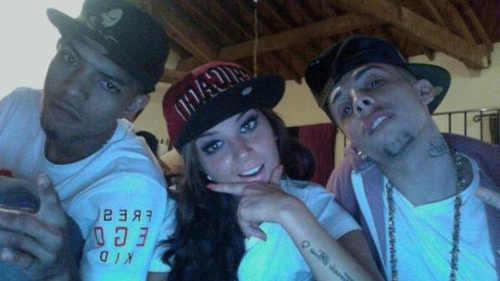 Tulisa with her bandmates Fazer and Dappy