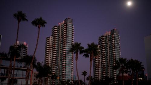 A dark downtown in San Diego, California