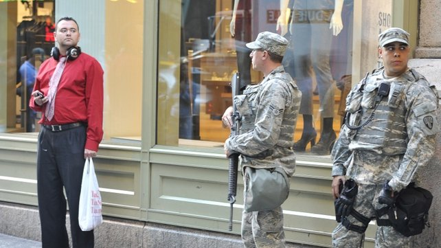 The army are also visible on New York's streets