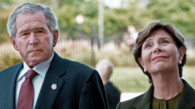 President George W Bush and Laura Bush lay a wreath at the Pentagon