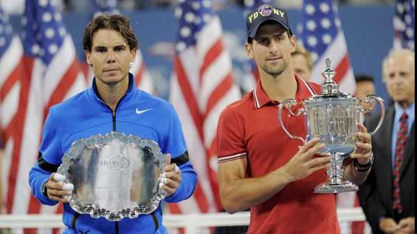 Runner-up Rafa Nadal (l) hailed the achievements of new US Open champion Novak Djokovic as unbelievable after going down in four sets to the Serbian in Monday's final