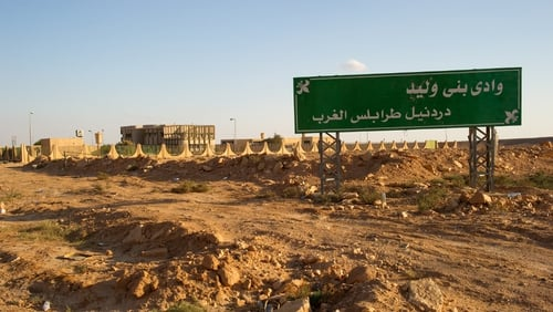 A sign marking the boundaries of the town of Bani Walid