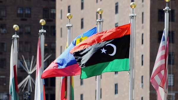 The Libyan flag used by rebels is flown at the UN for the first time