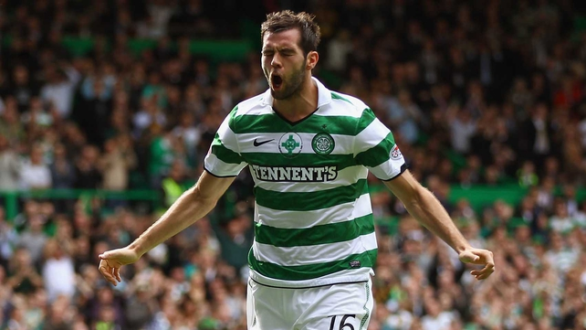 Joe Ledley opened the scoring for Celtic, who ran riot against 10-man Dundee