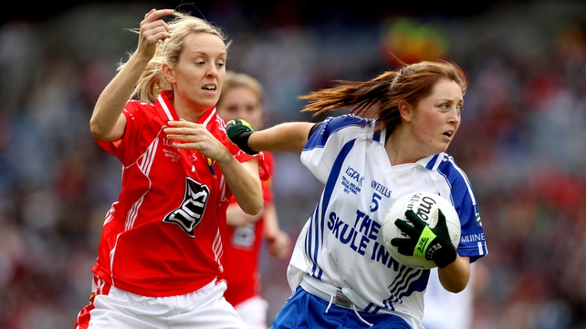 Cork's Nollaig Cleary and Aoife McAnespie of Monaghan in action in last year's All-Ireland final