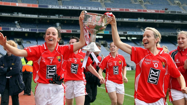 Geraldine O'Flynn and Nollaig Cleary celebrate in Croke Park