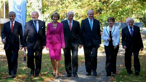 The seven candidates pose for photos outside RTÉ Radio Centre