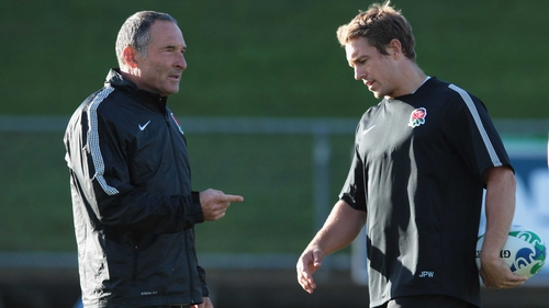 Dave Alred, who has been suspended, and Jonny Wilkinson - at training during the Rugby World Cup