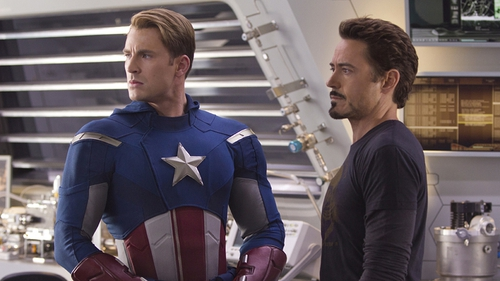 Chris Evans as Captain America and Robert Downey Jr. as Tony Stark/Iron Man in The Avengers