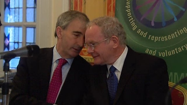 Gay Mitchell and Martin Mcguinness shared a quiet word at the breakfast